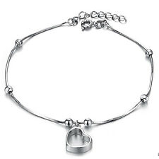 Genuine 18K White Gold GP Anklet with Sweet Heart Woman Girl Party Style TI00067
