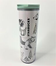 Starbucks 2017 Holiday Geometric Trees Bear Acrylic Christmas Travel Mug Tumbler