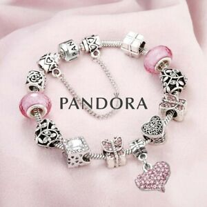 AUTHENTIC PANDORA Sterling Silver Bracelet with European Pink Heart Charms