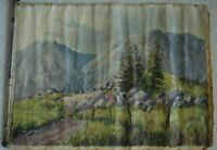 Beautiful Impressionist Mountain Landscape Illegibly Signed OOC Not Stretched