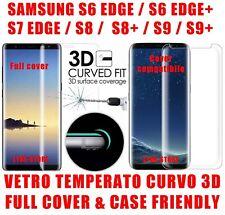 Pellicola vetro temperato CURVO Protezione Schermo Samsung S6 S7 S8 S9 EDGE +
