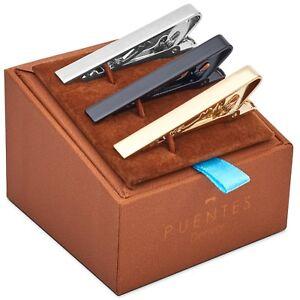 3 Pc Mens Tie Bar Pinch Clip Set for Regular Ties 2.1 Inch, Silver, Black SET-10