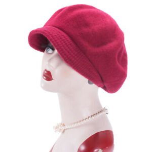 Two Use Way Womens 100% Wool Newsboy Cabbie Cap Crochet Slouchy Baggy Hat A530