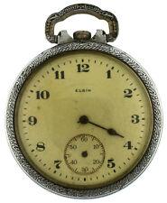 Elgin 16s 17J Grade 387 Model 7 Class 110 Silver Tone OF Pocket Watch 1921