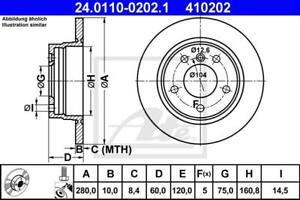 BRAKE DISCS (X2) FITS REAR BMW 3 SERIES E36 E46 280mm ATE 24.0110-0202.1