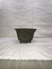 antique vintage cast iron cauldron bean pot with feet