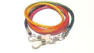 "Rainbow Silver Toned Eye / sun Glasses  lanyard 24"" Satin Braided Nylon Cord"
