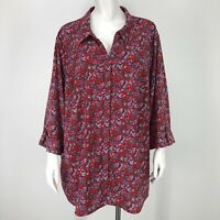 Catherines Womens 2X Shirt Floral Red Blue Botanical Button Front 3/4 Slv 22/24W