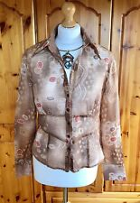 Gerry Weber Shirt Sz 12 Brown Red Sheer Fitted Blouse Day Evening Glam