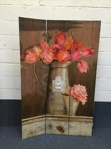 6FT Tall 3 Panel 2 Fold Tulip/Floral Design Room Divider Canvas Screen