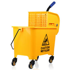 5 Gallon Mop Bucket Trolley Press Wringer Combo Commercial Rolling Cleaning Cart