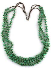 VTG Santo Domingo Sterling Silver Fine Heishi Turquoise Multi Strand Necklace