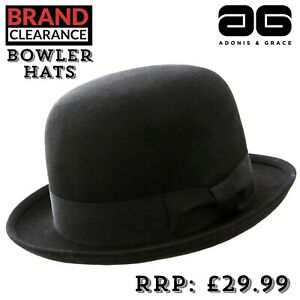 Bowler Hat 100% Wool lined Luxury by A & G Mens Racing Ascot Derby 4 Sizes