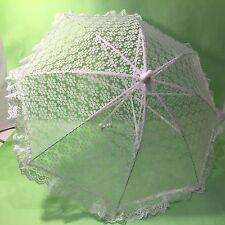 Vtg White Lace Sun Parasol Wedding Bridal Umbrella Victorian Photography Plastic