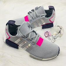 CUTE Bling Adidas NMD R_2 Women's Shoes w/ Swarovski Crystals - Grey Shock Pink