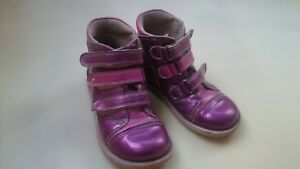 NICE PINK PURPLE ORTHOPEDIC LEATHER GIRL HIGH SHOES BOOTS SIZE 11 EU 30 (19.5cm)