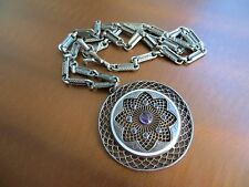 Antique Victorian silver Enamel Amethyst Filigree pendant Book links Chain