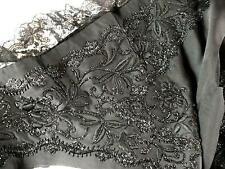 1850 French Black Silk Vest Jet Beads & Chantilly Lace