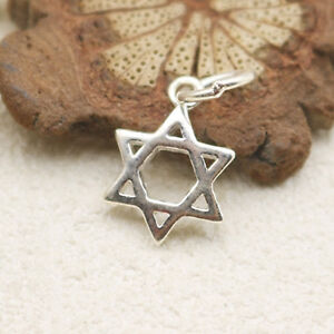 Sterling Silver Hollow Six Pointed Star Hex Star of David Charm Pendant