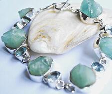 Design Silber Armband 19 - 20,5 Aquamarin Blautopas Rohstein Blau Dick Massiv