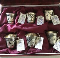 Set of Six Russian Silver 875 Niello Vodka Cups