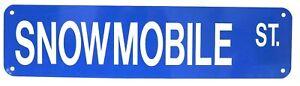 Snowmobile Street Sign Novelty Aluminum Metal Man Cave Cabin Decoration Blue New