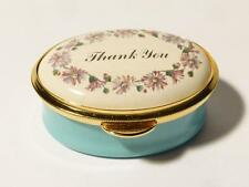 Vintage THANK YOU  Staffordshire Enamel OVAL Trinket Pill Box Boxed #50