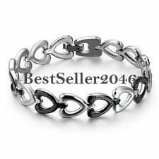 Silver Stainless Steel Eternity Love Open Heart  Greek Key Link Promise Bracelet