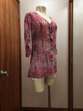 Mushka sienna rose inc Sheer Pink Rose  Blouse S Roll-up Tab 3/4 Sleeve Tunic