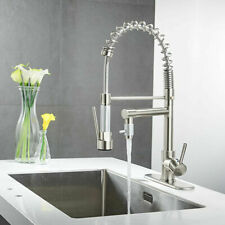 Brushed Nickel Kitchen Sink Faucet Commercial Pull Down Spray Swivel Tap W/Plate