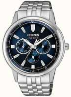 Citizen Men's Eco-Drive Chronograph Watch BU2071-87L, Blue Dial New No Tags