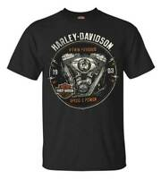 Harley-Davidson Men's Engine Grunge Short Sleeve Crew Neck T-Shirt, Black