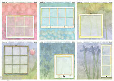 TwelveBy12 Heavyweight Scrapbook Papers 12x12 Window Gardens Collection SET of 6