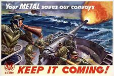 "1940s ""Your Metal Save Our Convoys"" WWII Propaganda War Poster - 20x30"