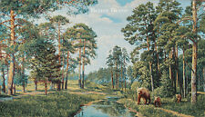 WALL JACQ. WOVEN TAPESTRY Landscape with Brown Bears WILD ANIMAL FOREST PICTURE