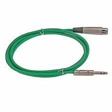 6ft foot feet GREEN 1/4TRS to 3pin XLR audio  PA Patch Cable mic microphone cord
