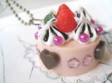 PINK CREAM CAKE NECKLACE STRAWBERRY TART  DIY KITSCH GOBBOLINO  BOW