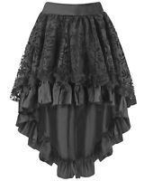 Plus Size Black Burlesque Satin & Lace Ruffle Peacock Style Hi Low Skirt 16 - 20