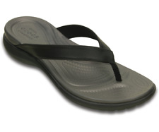 Crocs Capri V Flip Comfort Walking Leather Slip on Toe Post Womens Sandals Uk4-9 Black / Graphite UK 7 W9