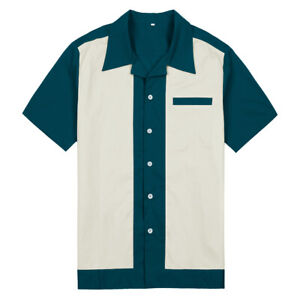 Male Clothing Bowling Shirts Rockabilly Style Fashion Indie Mens Shirts 50s