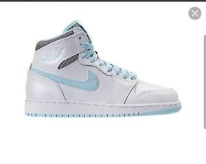 NIKE Jordan 1 Retro High White Still Blue (GS) FREE SHIPPING (8.5 US) VERY RARE