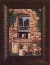 COUNTRY CROCKS by Doug Knutson 10x13 FRAMED PRINT Wood Wagon Window Vines Bricks
