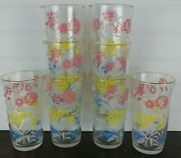 MCM, Mid Century Floral Glasses, Tumblers, set of 8, pink yellow and blue floral