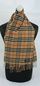 BURBERRY SCARF 100% LAMBSWOOL SHORT MADE IN ENGLAND BEIGE AS11