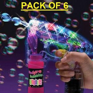 6 x Bubble Gun Shooter led Lights with free bubble solution 3+ WHOLESLAE
