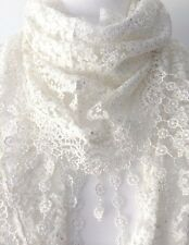 Lace Triangle Scarf Ivory Cream Vintage Style Scarf Tassel Trim Wedding New