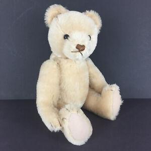 "Hermann mohair teddy bear 12"" blond beige West Germany glass eyes jointed"