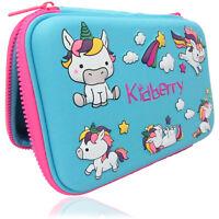 Unicorn Pencil Case, Hard Cover, Comfortable, large storage, Light Blue Color