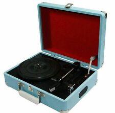ProTelX GPO Blue Attache Case Briefcase Suitcase Style Record Player Turntable