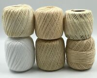 Assorted Tan/White/Beige/Cream Crochet Thread/Yarn, Lot of 6 Partial Skeins, 1lb